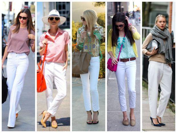 белый брюки и пастел