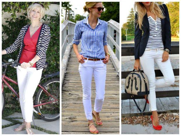 морской стиль в одежде, белые брюки